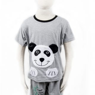 Children's Panda Clothing Set in Gray L