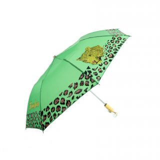 Leopard Compact Umbrella in Green