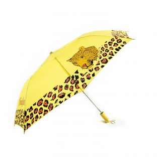 Leopard Compact Umbrella in Yellow