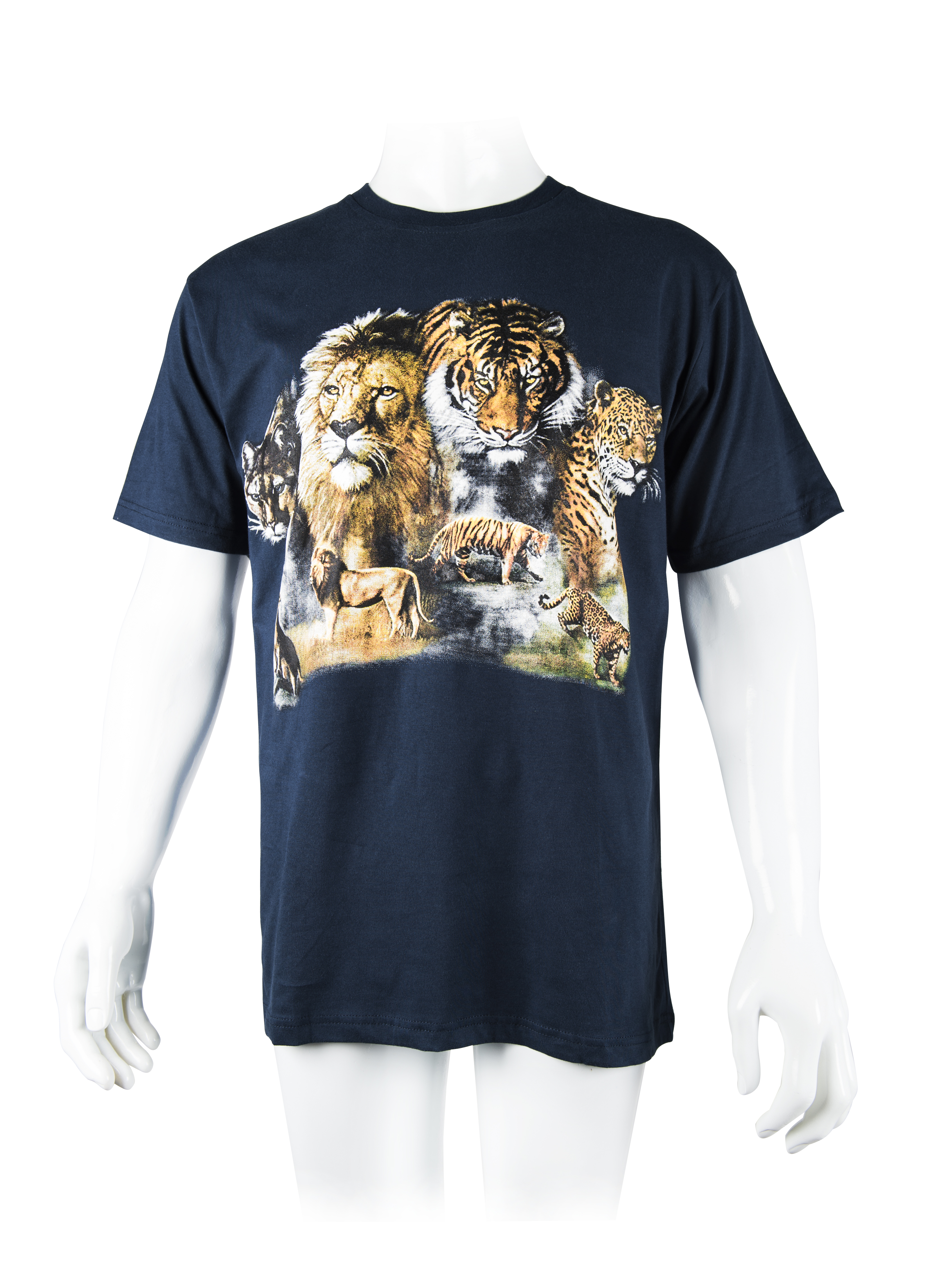Tiger Family T-Shirt in Navy Blue L