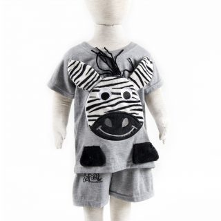 Toddler Zebra Clothing Set in Misty Grey 2T