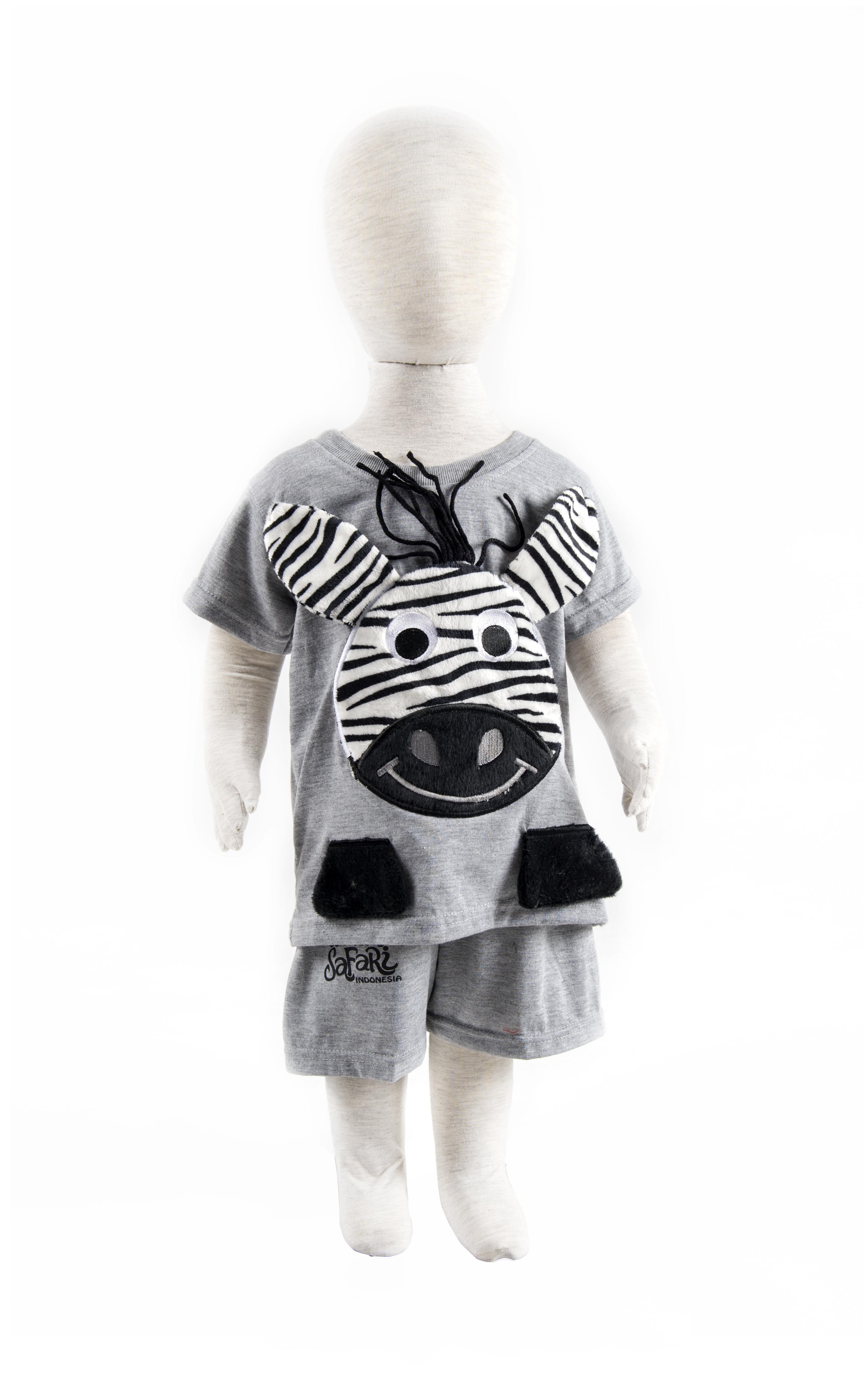 Toddler Zebra Clothing Set in Misty Grey 2T