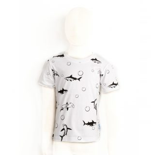 Children full print Shark Tshirt in white XS