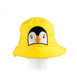 Kid Penguin bucket Hat in Yellow