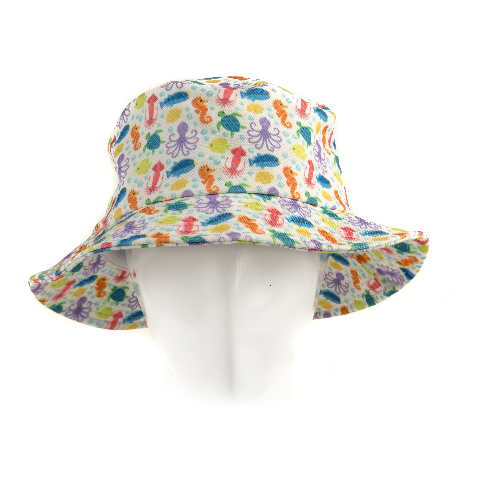 5deb9291274fb9 Kids Sea Animals Bucket Hat In White | SAFARI WONDERS