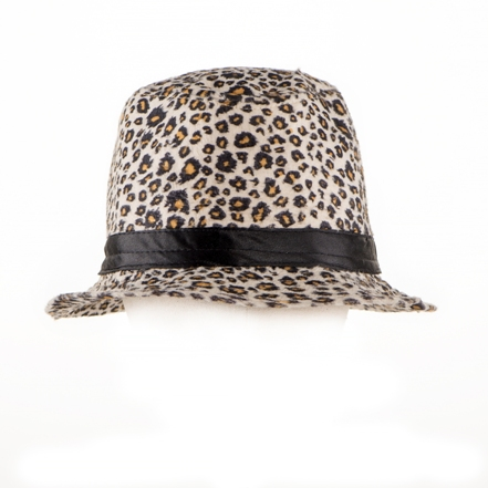 Adult Fedora Hat with White Tiger Pattern  89381c62147
