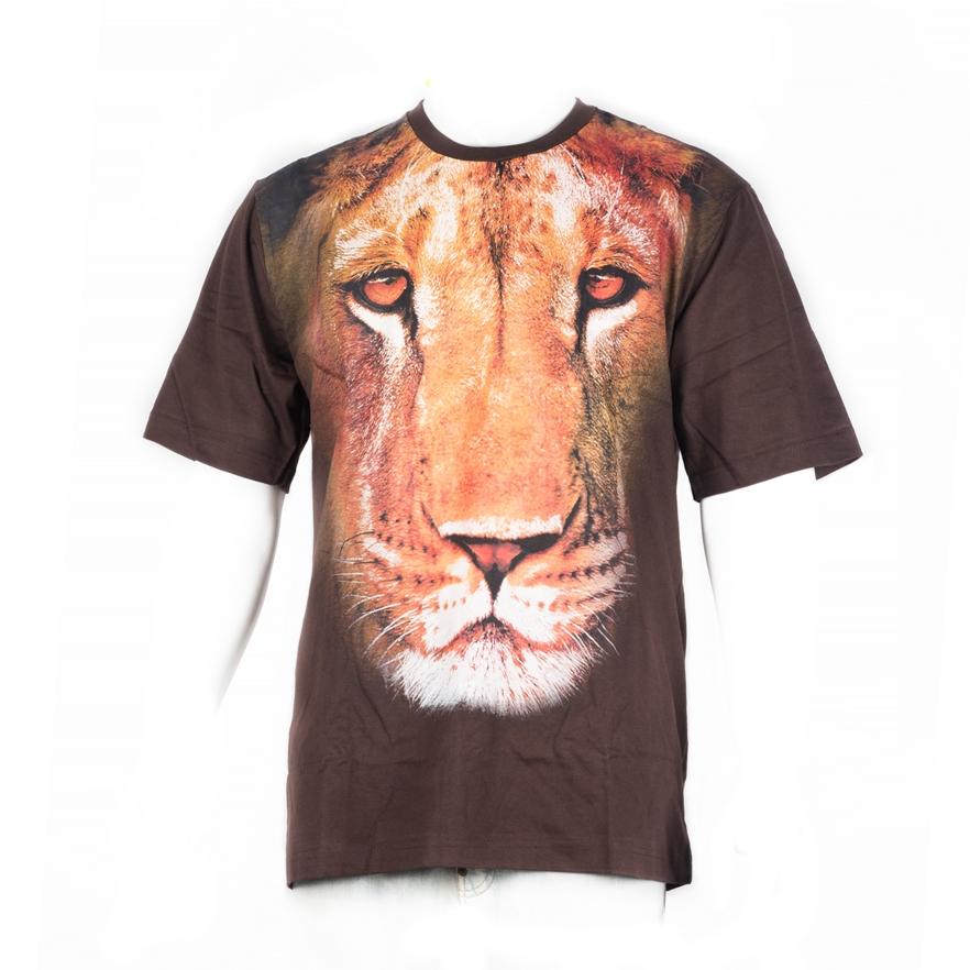 48. Kaos Face Lion coklat L