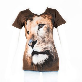 49. Tshirt ladies Lion cute coklat tua S